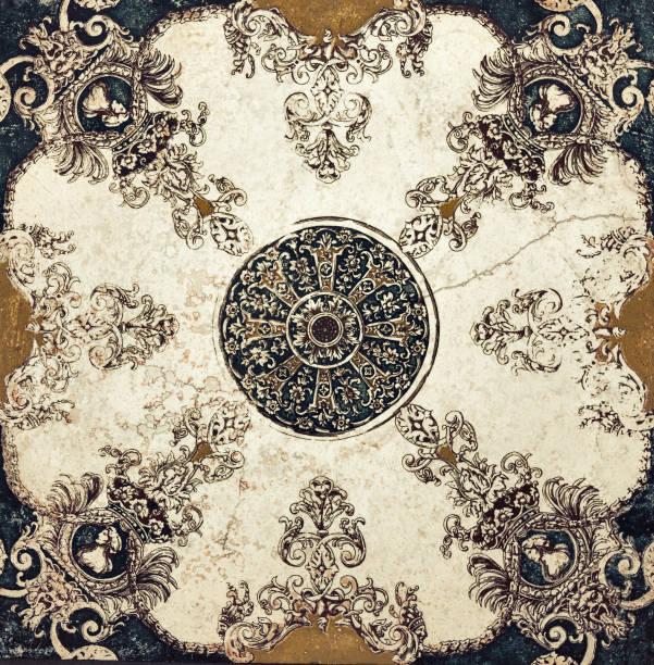 keramikfliesen muster - blumendrucktapete stock-fotos und bilder