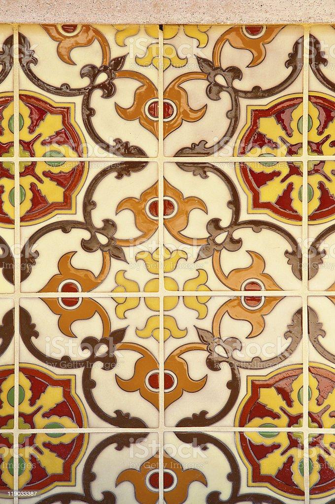 ceramic tiles wall decoration stock photo
