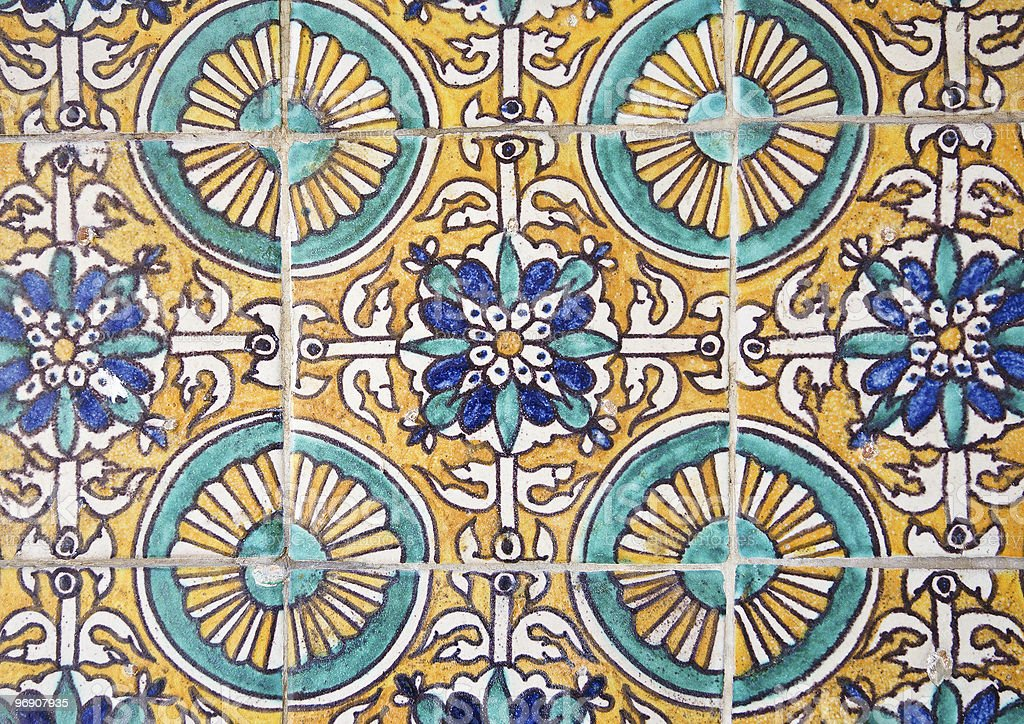 ceramic tiles wall decoration royalty-free stock photo
