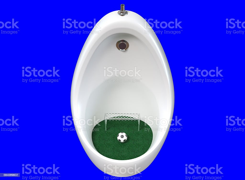ceramic urinals with a soccer ball and goal. stock photo