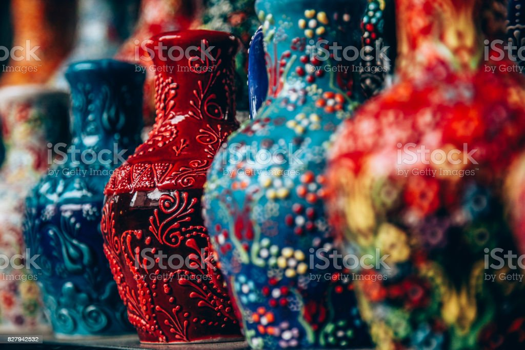 Ceramic vases, tile patterns