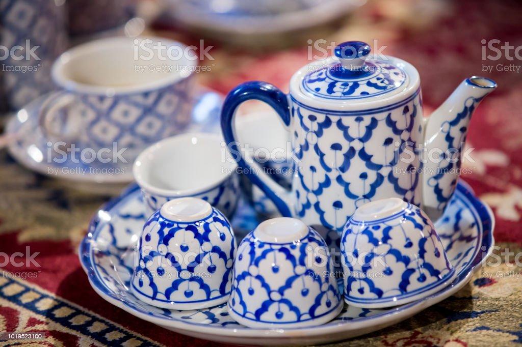 Vintage Keramik Teekanne Asiatische Teesets Traditionelles Geschirr Satz Von Thai Porzellan Stockfoto Und Mehr Bilder Von Alt Istock