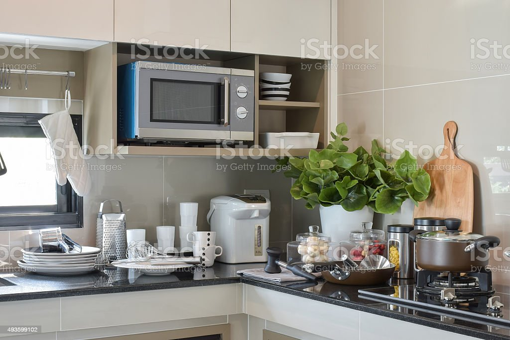 Ceramic ware and kitchen ware setting up on the counter stock photo