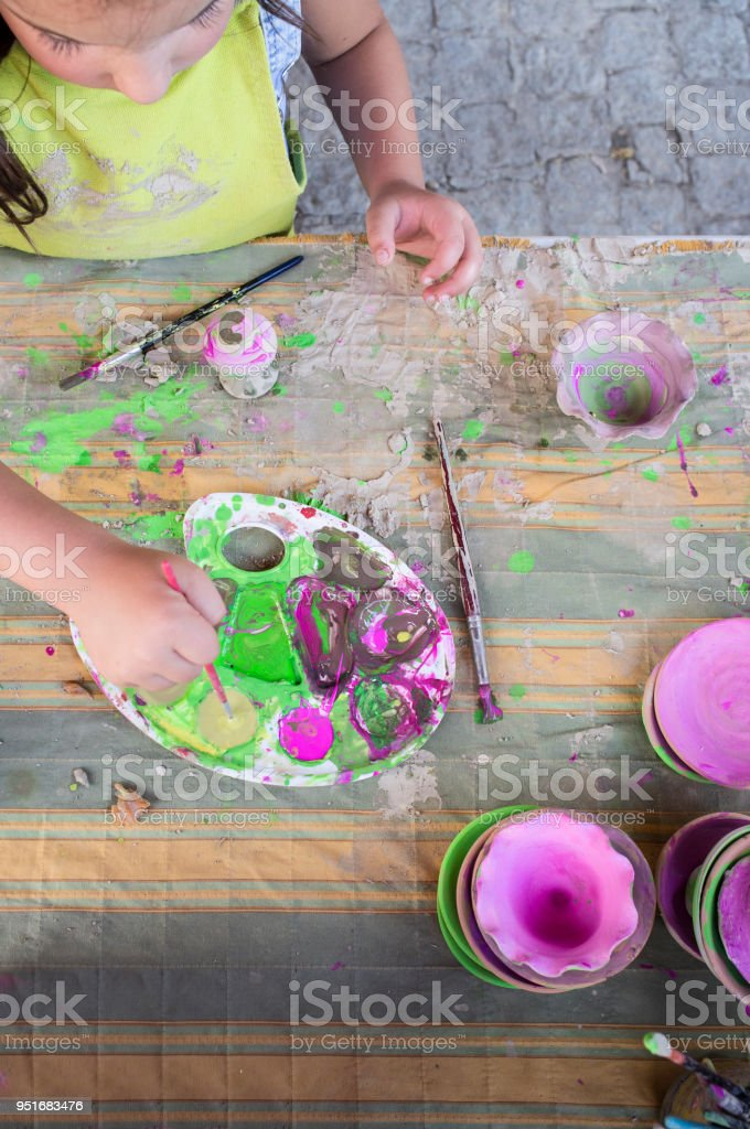 Ceramic workshop for children concept stock photo