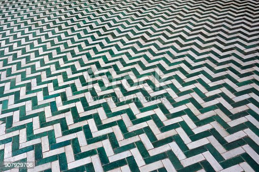 Ceramic zigzag tiles pattern in traditional style perfect for backgrounds.