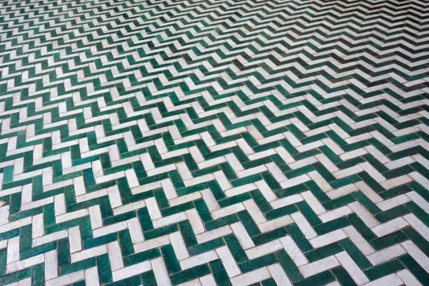 Ceramic zigzag tiles pattern stock photo