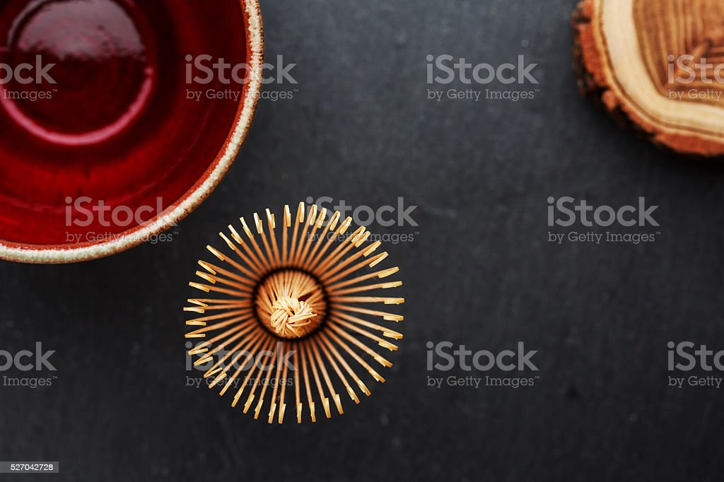 Ceramics bowl and chasen stock photo
