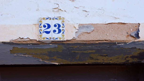 ceramics house number on the wall twenty three - number 23 stock photos and pictures