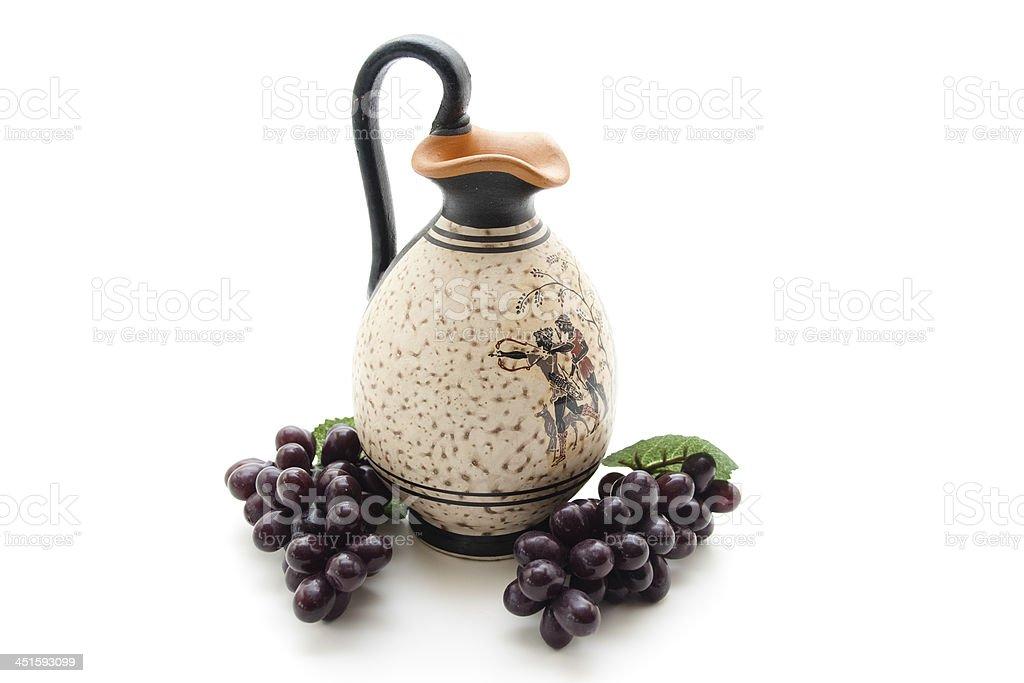 Ceramics jug with berries stock photo