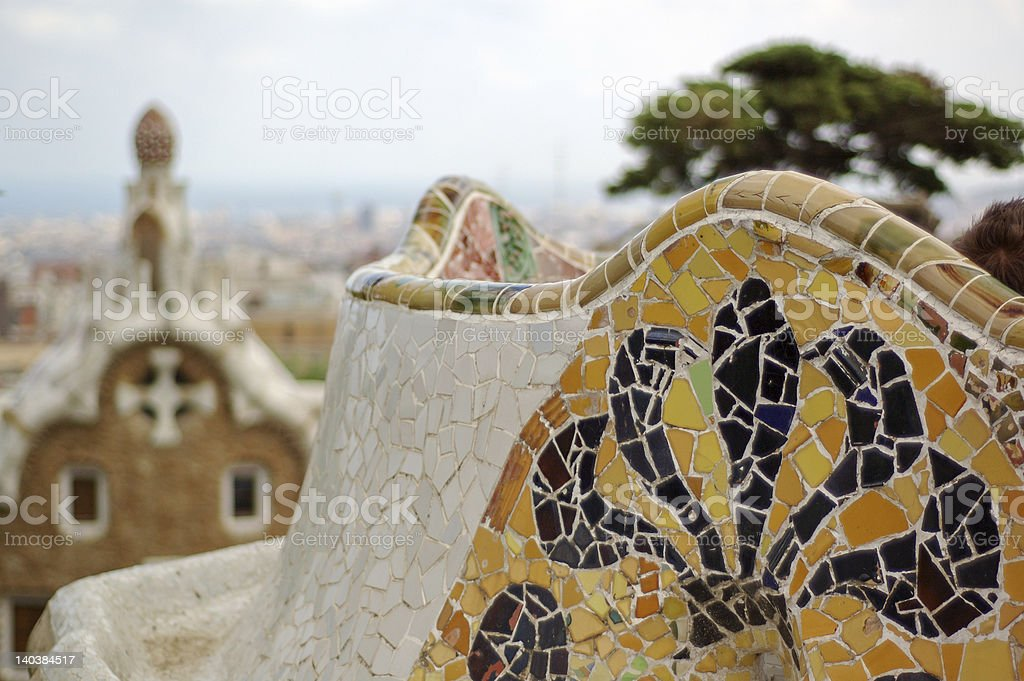 Ceramics of the Park Guell in Barcelona royalty-free stock photo