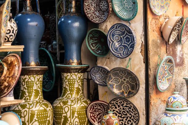 Ceramics vendor, Medina in Marrakesh, Morocco stock photo
