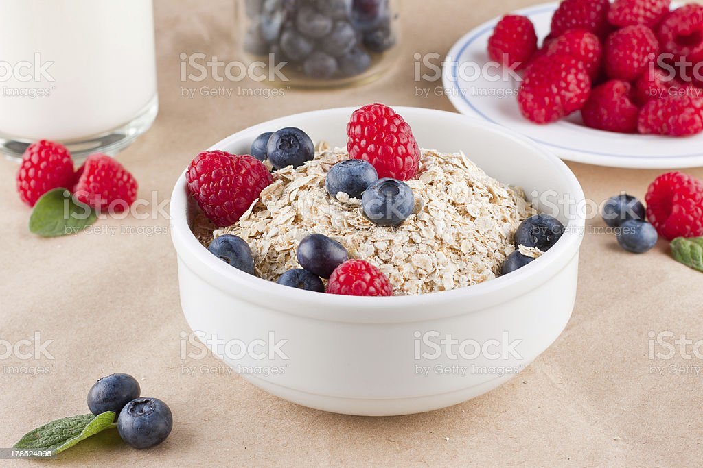 Cereal and berries royalty-free stock photo
