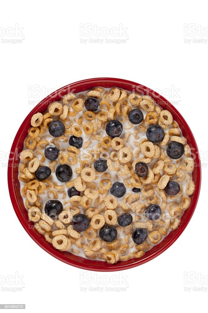 cereal and blueberries in a red bowl stock photo