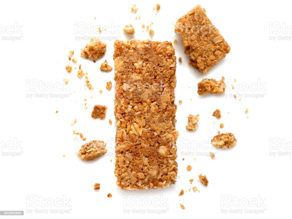 Cereal bars or flapjacks made from rolled oats stock photo