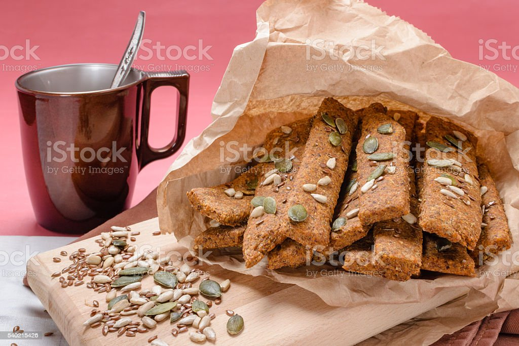 Cereal bars with different seeds stock photo