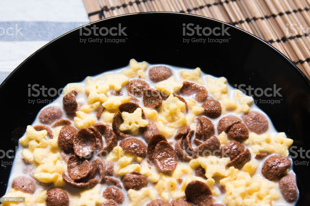 Cereal bowl for breakfast with milk stock photo