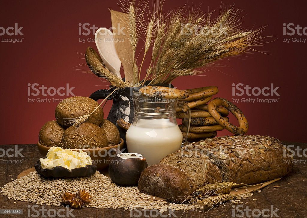 Cereal bread with grains and milk royalty-free stock photo