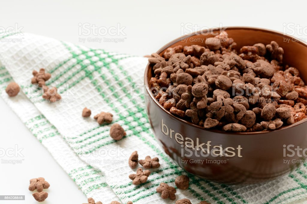 Cereal chocolate balls in bowl royalty-free stock photo