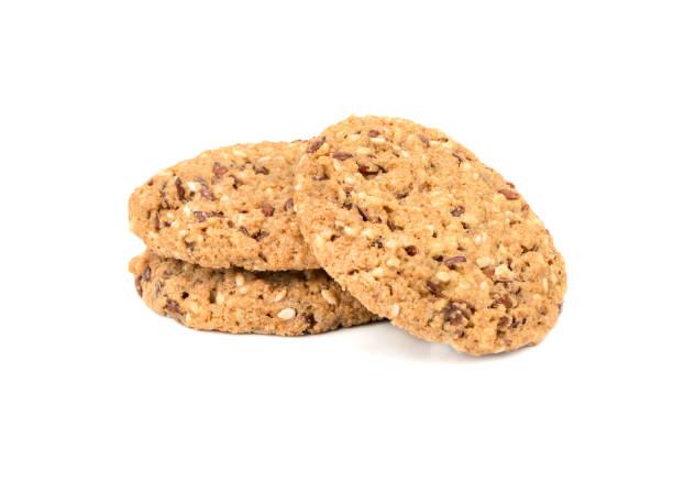 müsli-cookies isoliert - hafer cookies stock-fotos und bilder