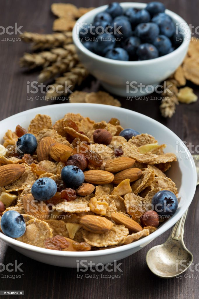 cereal flakes with blueberries and nuts, closeup royalty-free stock photo