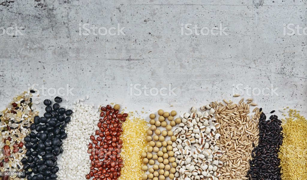 Cereal grains , seeds, beans stock photo