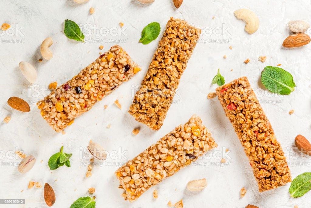 Cereais, barras de granola - foto de acervo