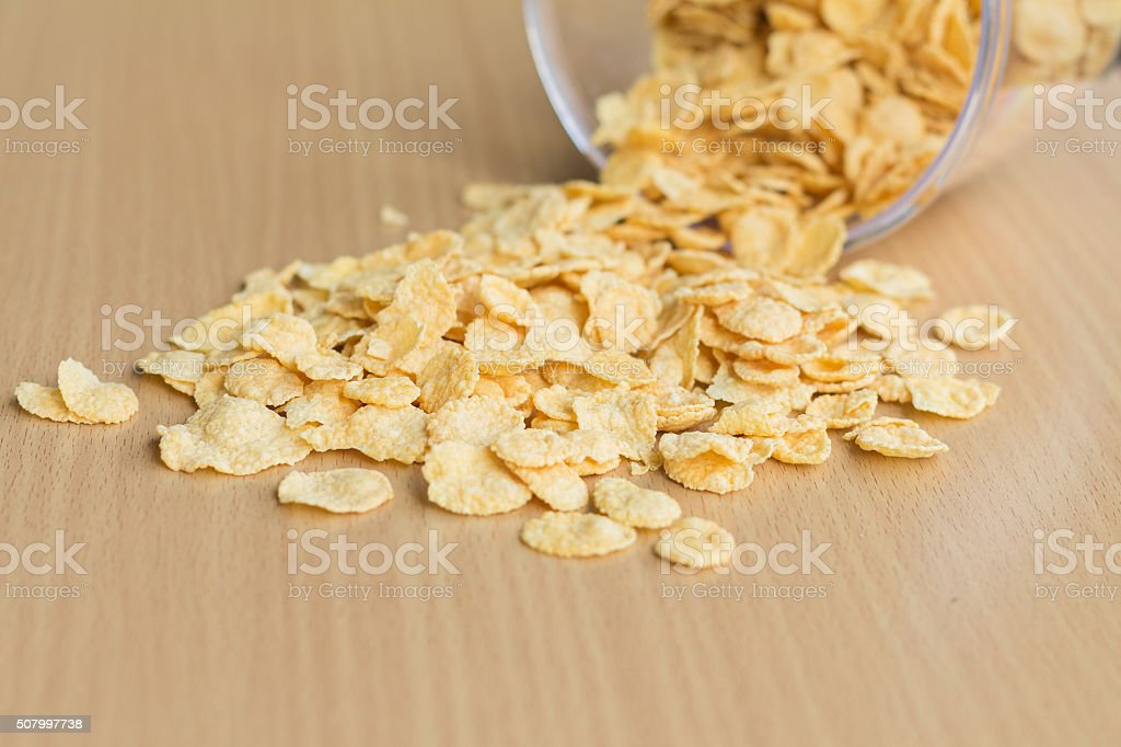 cereal on wood table stock photo