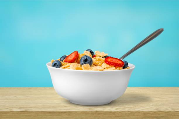Cereal. Healthy Homemade Oatmeal with Berries for Breakfast cereal stock pictures, royalty-free photos & images