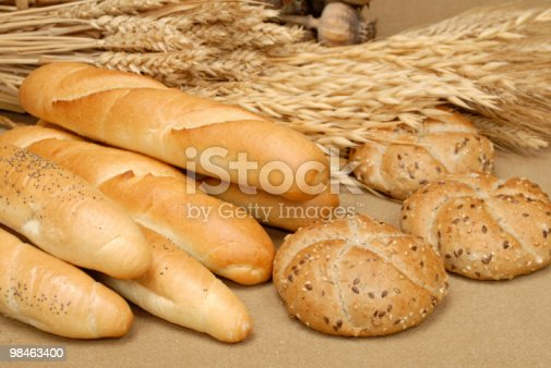 Cereal Roll Baguette And Corn On The Table Stock Photo & More Pictures of Agriculture
