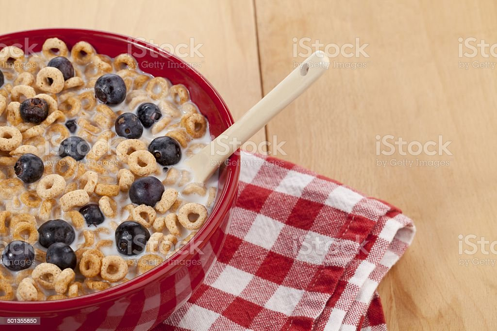 cereal with table napkin and spoon stock photo