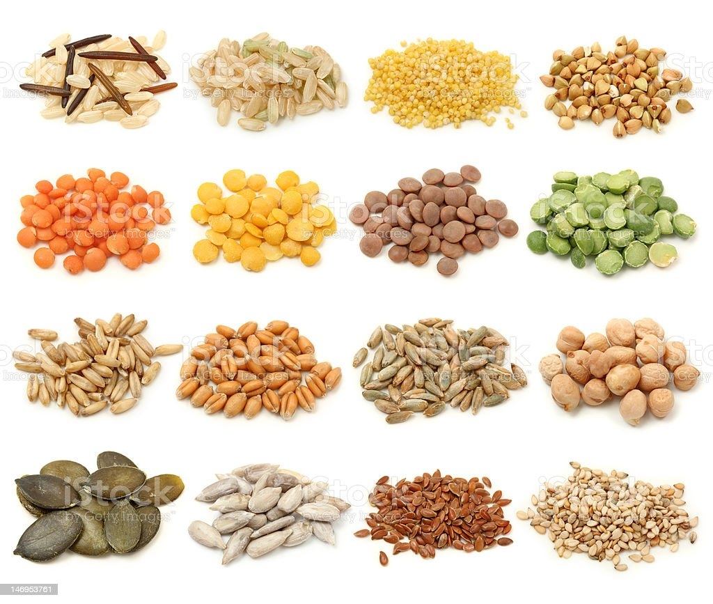 Cereal,grain and seeds stock photo