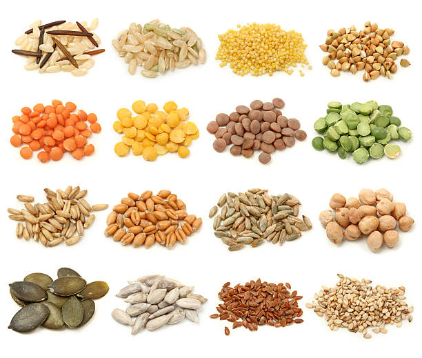 Cereal,grain and seeds Cereal,grain and seeds collection isolated on white background. Macro shots. rice cereal plant stock pictures, royalty-free photos & images