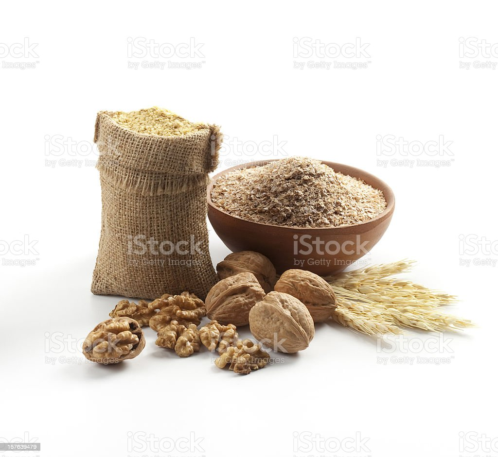 Cereals and nuts composition stock photo