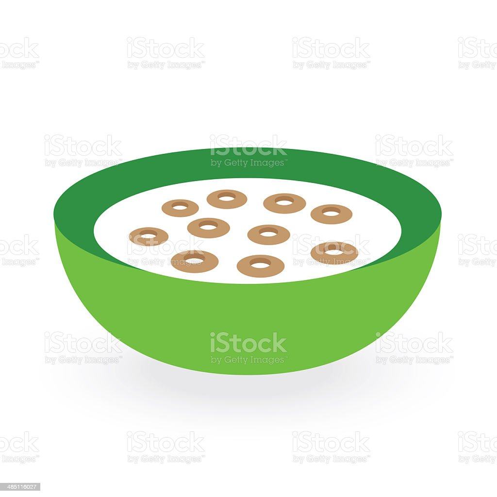 cereals bowl milk isolated on white background stock photo