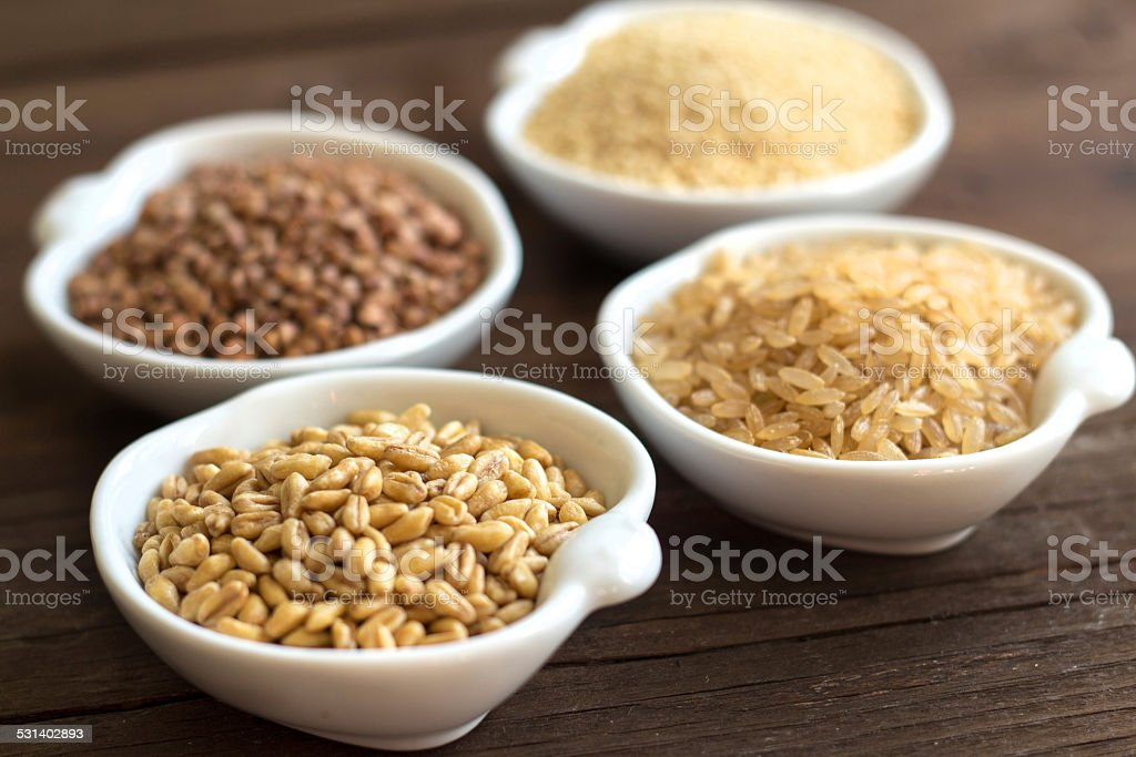 Cereals in bowls close up stock photo