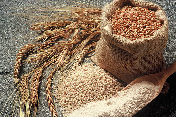 cereals various cereals with bag of grain spelt stock pictures, royalty-free photos & images