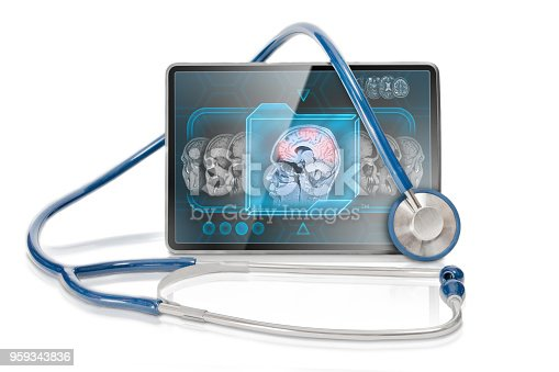 Modern tablet displaying MRI scan on horizontal screen