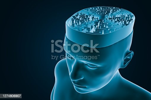 Cerebral maze or labyrinth representing the human brain abstract 3D rendering illustration. Neurology, cognition, learning, thinking, neuroscience, psychology, intelligence concepts.