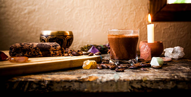 Ceremonial Cacao Beverage (Raw Chocolate) stock photo