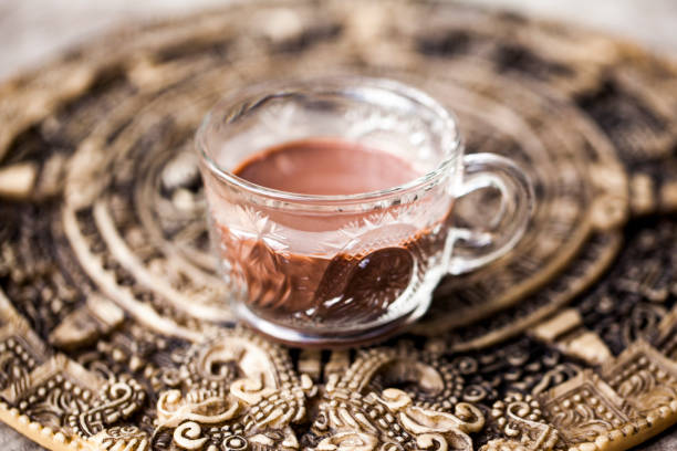 Ceremonial Cacao Drink: Super Food Raw Chocolate stock photo