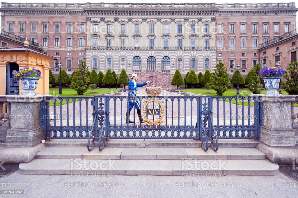 Ceremonial Guard patrols, Royal Palace, Stockholm, Sweden stock photo