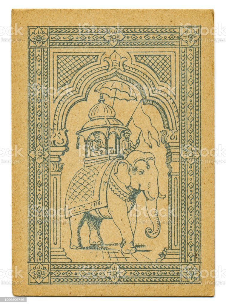 Ceremonial Indian elephant rare Hindu playing card back 19th century stock photo