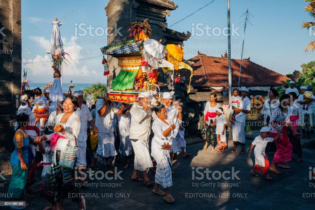 Ceremonial procession on Bali, Indonesia stock photo