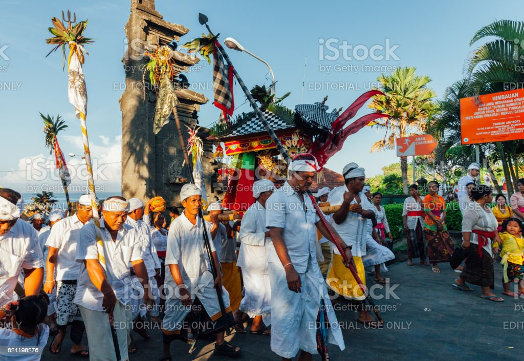 Ceremonial procession on Bali, Indonesia royalty-free stock photo