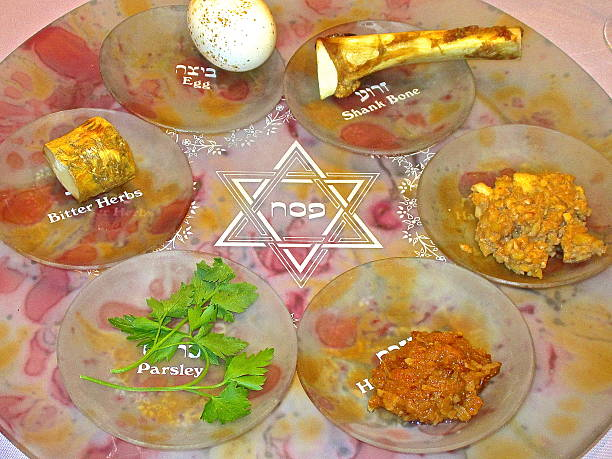 Ceremonial Seder plate for Jewish Passover celebration A ceremonial Seder plate for Passover, Jewish Festival of Freedom, family meal and celebration. with Hebrew and English script.  seder plate stock pictures, royalty-free photos & images
