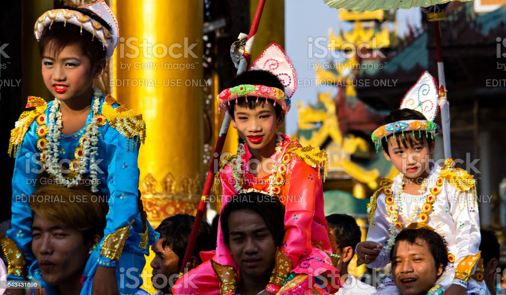 Ceremony in Myanmar stock photo