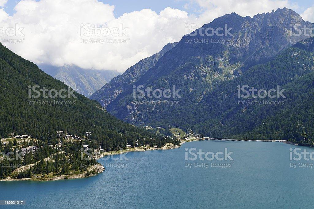 Ceresole Reale Lake stock photo