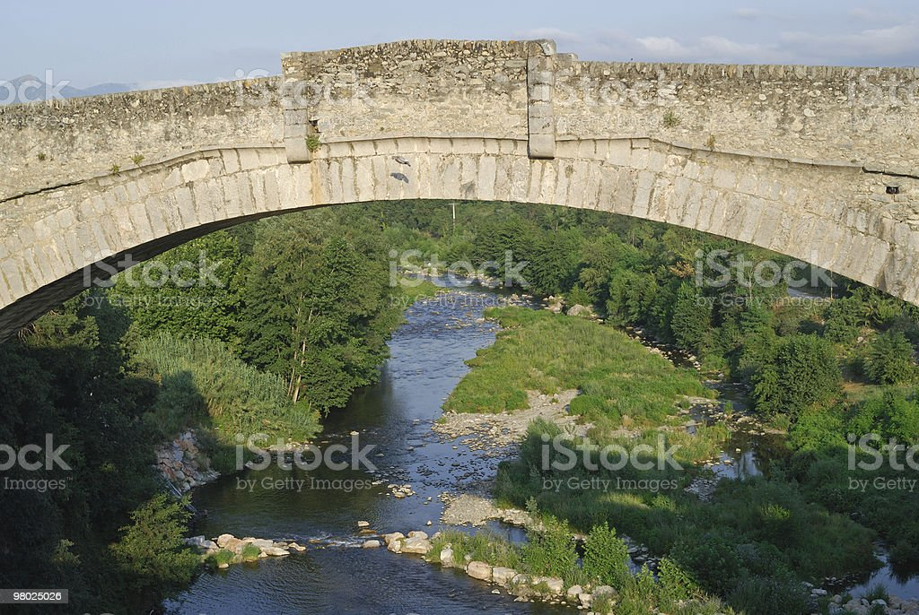 Ceret (Pyrenees, France): Ancient bridge and river royalty-free stock photo