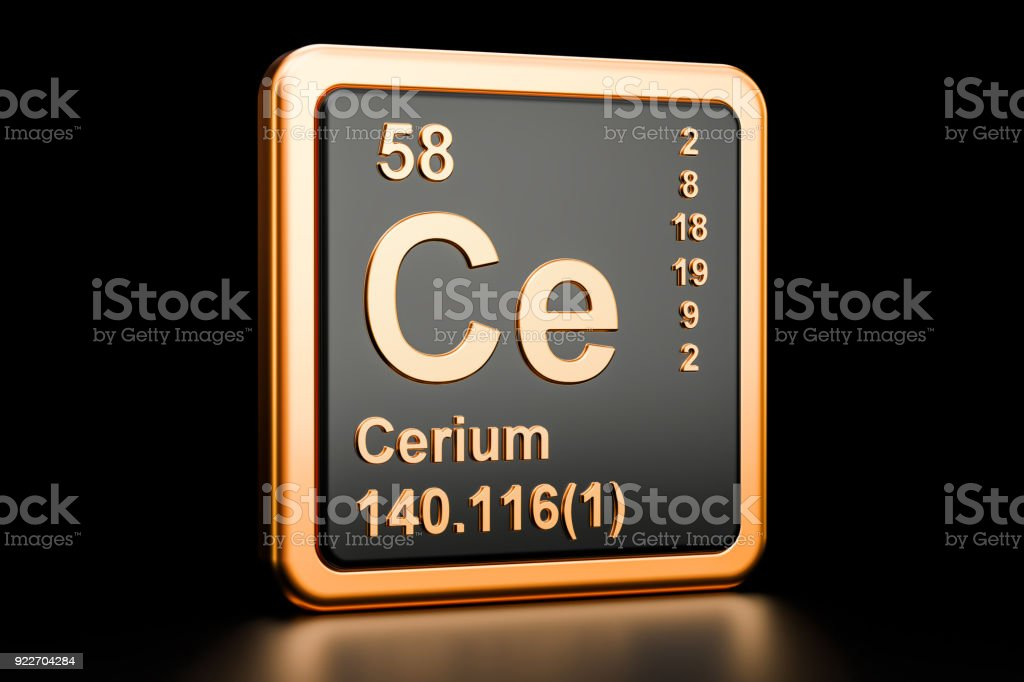 Cerium Ce, chemical element. 3D rendering isolated on black background stock photo