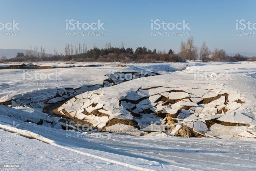 Cerknica lake in winter stock photo